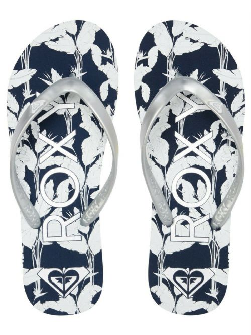 ROXY WOMENS FLIP FLOPS.TAHITI NAVY BLUE SILVER FLOWERED THONGS BEACH SANDALS S20